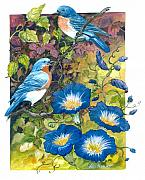 Morning Glories Paintings - Bluebirds and Morning Glories by Lois Mountz