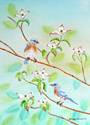 Birds Paintings - Bluebirds In Dogwood Tree II by Kathryn Duncan