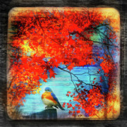 Red Leaves Mixed Media Posters - Bluebirds song Poster by Gina Signore