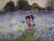 Overalls Painting Posters - Bluebonnet Cutie Poster by Kim Whitton