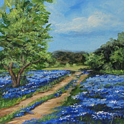 Lanscape Paintings - Bluebonnet Road by Torrie Smiley