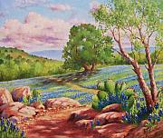 Oak Trees Paintings - Bluebonnet Trail by David G Paul