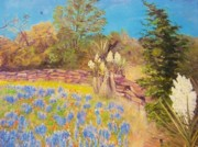 Stacked Paintings - Bluebonnets and Yucca by LaVelle McDougal