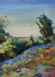 Country Western Paintings - Bluebonnets on a Hill by Maris Salmins