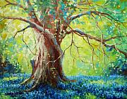 Blue Flowers Paintings - Bluebonnets Under The Oak by David G Paul