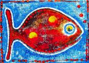 Folk Tapestries - Textiles - BlueEyed SunFish by Phyllis Tannerfrye