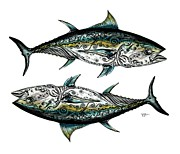 Sport Artist Painting Posters - BlueFin Duo - Two Against One Poster by J Vincent Scarpace