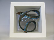 Raffia Sculptures - BlueGreen Abstract by Beth Lane Williams
