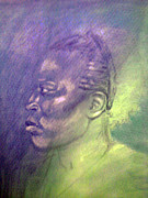 African-american Pastels - Bluegreen Dream by Paula Johnson