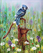 Bluejay Painting Metal Prints - Bluejay Peaceful Perch Metal Print by Judy Filarecki