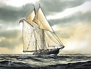 Tall Ship Painting Prints - Bluenose  Print by James Williamson