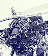 Vintage Airplane Photos - Blueprint Radial by Steven Richardson