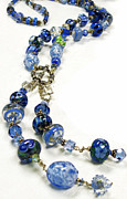 Beads Jewelry Prints - Blues Print by Barbara Berney