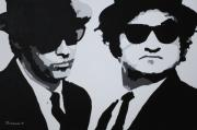Original Oil Paintings - Blues Brothers by Katharina Filus