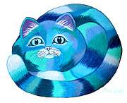 Cat Art Drawings Prints - Blues Cat 2 Print by Nick Gustafson
