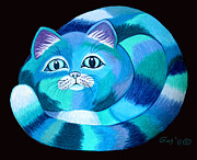 Cats Drawings Metal Prints - Blues Cat Metal Print by Nick Gustafson