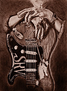 Fender Strat Drawings Prints - Blues Legend Print by Art Equus