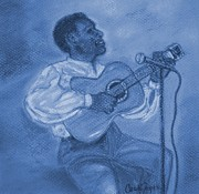Guitar Player Pastels Posters - Blues man Poster by Carole Joyce