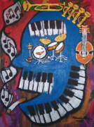 Abstract Drum Paintings - Blues Man by Marcus  Alleyne