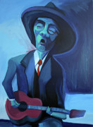 Singer  Paintings - Blues Man by Mike Lawrence