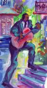 Zydeco Prints - Blues Man on Steps Print by Saundra Bolen Samuel