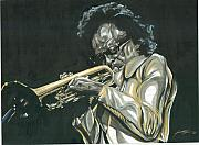 Trumpet Paintings - Blues Miles by Keith  Thurman