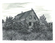 Abandoned House Drawings Prints - Blues Mills Print by Jonathan Baldock