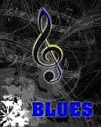 Linda D Seacord Prints - Blues Music Poster Print by Linda Seacord