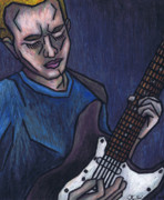 Oil Pastel Prints Originals - Blues Player by Kamil Swiatek