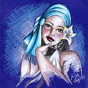 Prismacolor Colored Pencil Drawings Prints - Blues Print by Scarlett Royal
