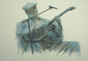 Guitar Pastels - Blues Series - The Blues Man by September McGee