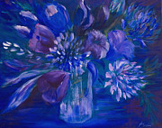 Cut Flowers Paintings - Blues to Brighten your Day by Joanne Smoley