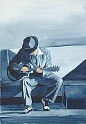Watercolor Figure Painting Prints - Bluesman Print by Diane Ziemski