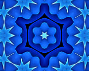 Ornamental Digital Art - Bluestars by Ann Croon