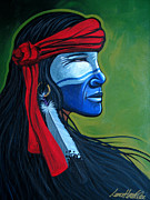 Contemporary Native American Posters - BluFace Poster by Lance Headlee