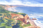 Pacific Ocean Painting Posters - Bluffs at Torrey Pines South Poster by Mary Helmreich
