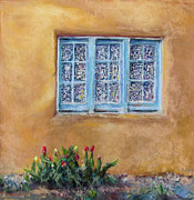 Curtains Pastels Framed Prints - Blumenscheins Window Framed Print by Julia Patterson