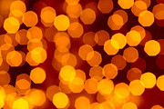 Orange Metal Prints - Blurred Christmas Lights Metal Print by Carlos Caetano