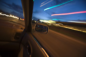 Car Window Framed Prints - Blurred Lights From A Car Window Framed Print by John Burcham
