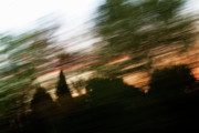 Locations Prints - Blurred view of clouds behind trees at sunset Print by Sami Sarkis