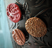 Signed Ceramics - Blushing Beauties Set of 3 Magnets by Amanda  Sanford