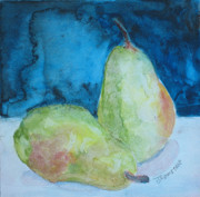 Food And Beverage Mixed Media Originals - Blushing Pears by Jenny Armitage