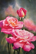 Red Flowers Painting Metal Prints - Blushing Roses with Bud Metal Print by Sharon Freeman