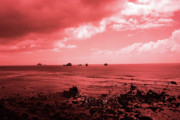 Beach Scenes Digital Art Posters - Blushing Sky Poster by Kami McKeon