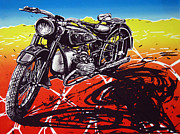 Moto Mixed Media - BMW 1953 in the desert. by Javier Molina