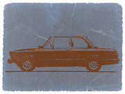 Automotive Digital Art Metal Prints - BMW 2002 Orange Metal Print by Irina  March