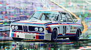 Race Car Posters - BMW 3 0 CSL 1st SPA 24hrs 1973 Quester Hezemans Poster by Yuriy  Shevchuk