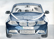 Vehicle Drawings Posters - BMW 5-Series Poster by Eva Ason