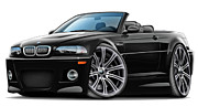Bmw M1 Posters - BMW e46 M3 Black Convertible Poster by Maddmax