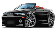 Bmw M1 Posters - BMW e46 M3 Black-Red Convertible Poster by Maddmax